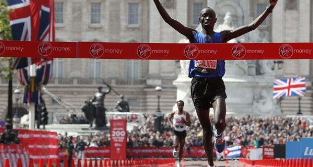 Kenya's Daniel Wanjiru wins the Men's elite race at the 2017 London marathon. File photograph: Getty Images