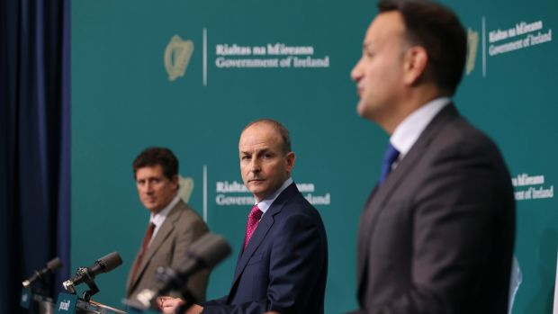 From left, Eamon Ryan, Micheál Martin and Leo Varadkar at Government Buildings on Wednesday evening. Photograp: Tom Honan/Julien Behal Photography/PA