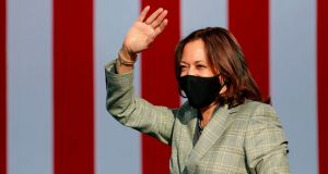 "Kamala Harris suspended travel on Thursday, after her communications director tested positive for Covid-19, the campaign said, adding that Harris had not come into ""close contact"" with the staffer. Photograph: Ronda Churchill/AFP"