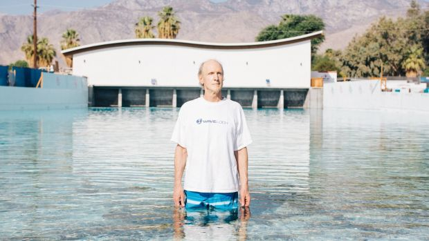Tom Lochtefeld in the wave pool he developed at the planned Palm Springs Surf Club resort. Photograph: Akasha Rabut/NYT