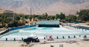 Tom Lochtefeld's wave pool in Palm Springs, California. Photograph: Akasha Rabut/NYT