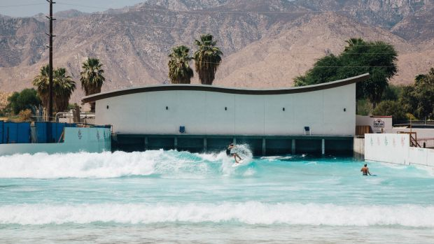 The wave pool, developed by Tom Lochtefeld, at the planned Palm Springs Surf Club resort in Palm Springs, California. Photograph: Akasha Rabut/NYT