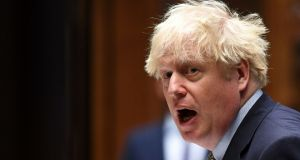 Britain's prime minister Boris Johnson  in the House of Commons in London on Wednesday. Photograph: Jessica Taylor/UK Parliament/AFP via Getty