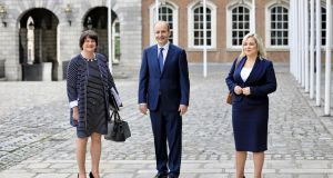 Northern Ireland First Minister Arlene Foster, Taoiseach Micheál Martin and Deputy First Minister Michelle O'Neill at the North-South Ministerial Council meeting in Dublin in July. Photograph: Julien Behal Photography