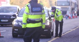 A Covid-19 Garda checkpoint on the M4 earlier this month. Photograph: Bryan O'Brien