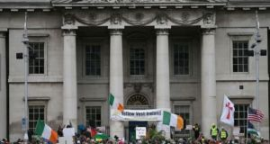A recent anti-mask protest in Dublin. Photograph: Nick Bradshaw/The Irish Times