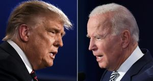 US president Donald Trump and Democratic nominee Joe Biden: The average of national polls run by Real Clear Politics has put Biden's lead at about nine percentage points. Photograph:  Jim Watson, Saul Loeb/AFP via Getty Images