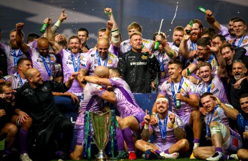A LONG TIME COMING: Exeter's captain Jack Yeandle and Joe Simmonds celebrate with the Heineken Champions Cup after their side's 31-27 victory over Racing 92 in Bristol. Photograph: James Crombie/Inpho