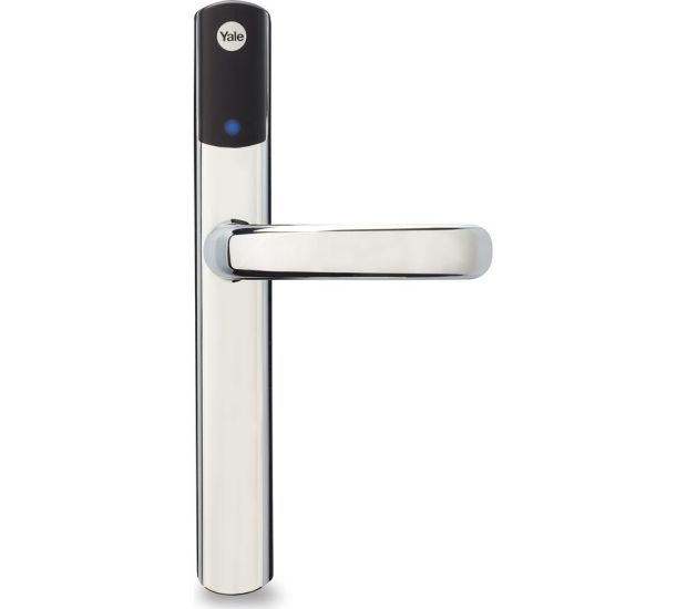 Yale's Conexis L1 lock is keyless, requiring a fob, keycard or a smartphone app and Bluetooth to unlock the door.