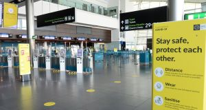 The check-in area at Dublin airport's  Terminal 2 this month. Photograph: Dara Mac Dónaill