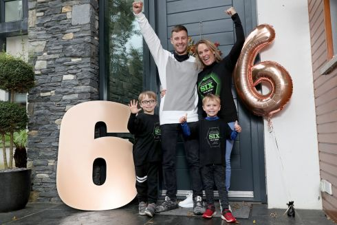 SIX TIMES A CHAMPION: Newly crowned six-time World Superbike champion, Jonathan Rea, returns to his Northern Ireland home to a big welcome from his sons Jake and Tyler, and wife Tatia, after winning the title in Estoril, Portugal, at the weekend. Photograph: Stephen Davison/Pacemaker
