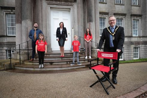 MOVIE-MAKING: From left are writer Ryan Rafferty, actor Savanna Burney Keatings, film producer and Cinemagic chief executive Joan Burney Keatings, actor Jude Hill,  young filmmaker Olivia Beatty, and Cllr Kevin Savage, Lord Mayor of Armagh City. The production in Armagh of a new short film, Rian, was brought about through a programme delivered by Cinemagic, an award-winning youth film festival. Photograph: Kelvin Boyes/Press Eye