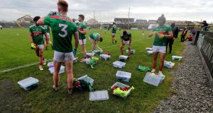 Mayo players before the start of their Allianz League game against Galway on Sunday. Photo: Bryan Keane/Inpho