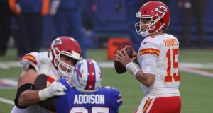 Patrick Mahomes inspired Kansas City to victory over the Buffalo Bills. Photograph: Timothy T Ludwig/Getty