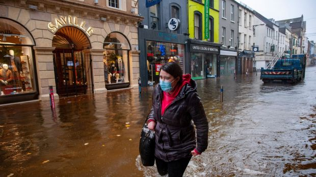 Heavy flooding on Oliver Plunkett Street, Cork. Photograph: Daragh Mc Sweeney/Provision