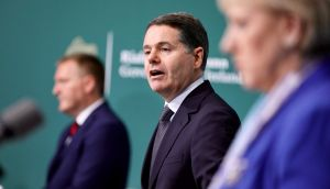Minister for Finance Paschal Donohoe and, left, Minister for Public Expenditure Michael McGrath. Photograph: Julien Behal/PA Wire