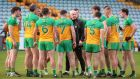 Donegal manager Declan Bonner speaks to his players before Sunday's win over Tyrone. Photo: Lorcan Doherty /Inpho