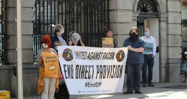 A group calling for the end of direct provision gathered outside the Dáil earlier this year. Photograph: Nick Bradshaw