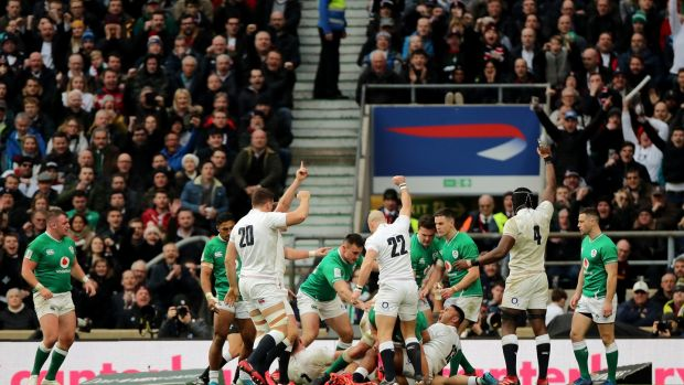 England celebrate Luke Cowan-Dickie's try at Twickenham. Photograph: James Crombie/Inpho