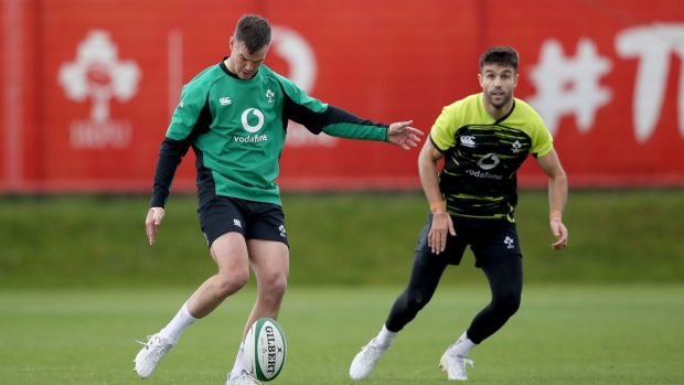 Johnny Sexton and Conor Murray ahead of Ireland's return to action on Saturday. Photograph: Dan Sheridan/Inpho