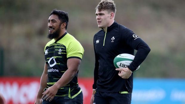 Bundee Aki and Garry Ringrose train ahead of Ireland's clash with Italy. Photograph: Dan Sheridan/Inpho