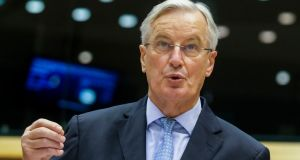 "Michel Barnier at the European Parliament in Brussels: ""Our door remains open, and will remain until the last practical day for working together."" Photograph:  Olivier Hoslet, Pool via AP"