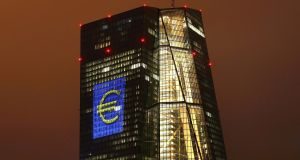 "ECB headquarters in Frankfurt, Germany. Deutsche Bank says capital reserves rules are ""hampering"" the flow of low ECB rates to Irish borrowers. Photograph: Kai Pfaffenbach/Reuters"