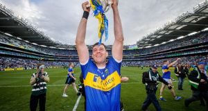 Tipperary's Séamus Callanan celebrates with the Liam MacCarthy Cup after victory over Kilkenny in last year's final at Croke Park. Photograph: Ryan Byrne/Inpho