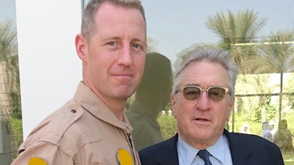 Helicopter pilot Dave McInerney with Robert De Niro