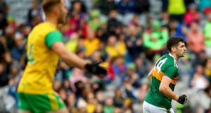 Kerry's Paul Geaney in action against Donegal last year. Photograph: James Crombie/Inpho