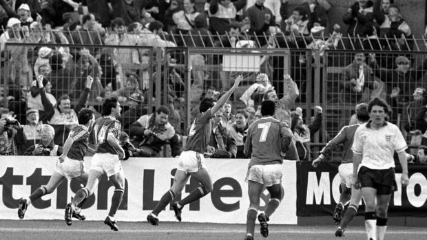 Tony Cascarino celebrates his equaliser in the 1-1 draw against England in November 1990. Photograph: Billy Stickland/Inpho