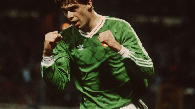Republic of Ireland's Niall Quinn celebrates his equaliser for Ireland at Wembley in March 1991. Photograph: Billy Stickland/Inpho