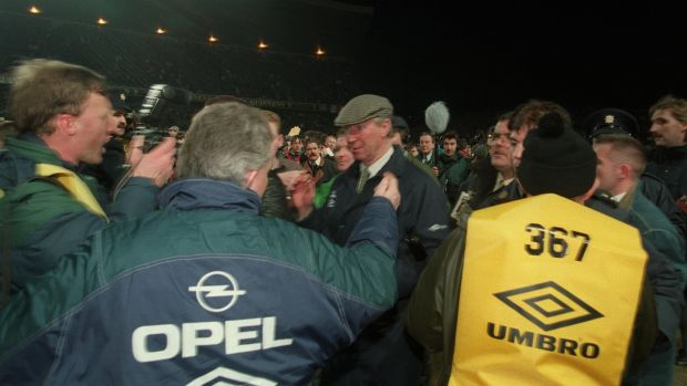 An emotional Jack Charlton on the pitch after English fans rioted during the 1995 friendly international against England at Lansdowne Road in 1995. Photograph: Billy Stickland/Inpho