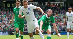 The Republic of Ireland's Marc Wilson with England debutant Jamie Vardy during the 0-0 draw at the Aviva Stadium in June, 2015. Photograph: Gary Carr/Inpho