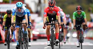 Primoz Roglic in the red jersey leads Daniel Martin (left) during stage two of the Vuelta a Espana.  Photo: Justin Setterfield/Getty Images