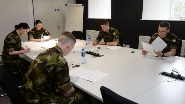 Defence Forces cadets undertaking HSE training at Dr. Steevens' Hospital for contact tracing. File photograph: Alan Betson
