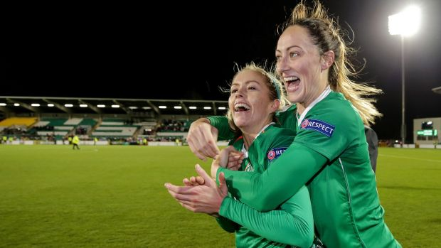 Denise O'Sullivan and Megan Campbell celebrate afetr Ireland beat Ukraine in Tallaght last year. Photograph: Laszlo Geczo/Inpho