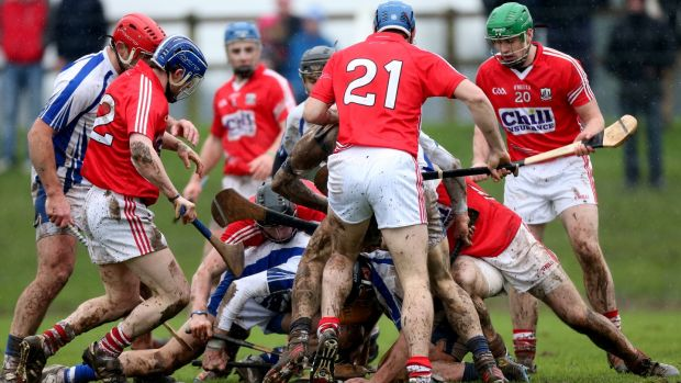 A muddy encounter between Cork and Waterford in 2013. Photograph: James Crombie/Inpho