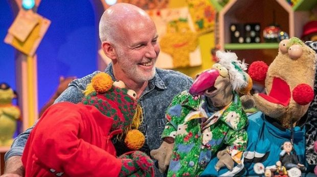 Ray Darcy returns with Dustin, and Zig and Zag for The Den. Photograph: RTE