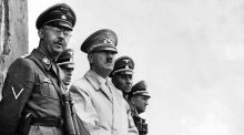 Adolf Hitler and Gestapo chief Heinrich Himmler (left) observe a parade of Nazi stormtroopers in 1940. Photograph: Reuters/Corbis