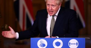 "Britain's prime minister Boris Johnson: ""I share people's frustrations and I understand totally why we do need to see faster turnaround times and we need to improve it,"" the British prime minister told a press conference in Downing Street. Photograph:  Henry Nicholls/Getty Images"