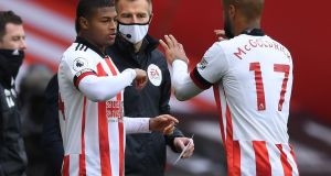 Rhian Brewster came off the bench during Sheffield United's draw with Fulham at Bramall Lane. Photograph: Getty Images