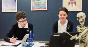 Sixth class students Eoghan Ó Maoláin and Áine Nic Dheá from Gaelsoil Riabhach, Loughrea, Co Galway, who will chair the Ask a Scientist online panel discussion on Friday November 6th as part of the inaugural Science on Screen Film Festival Ireland. Photograph: Emilija Jefremova
