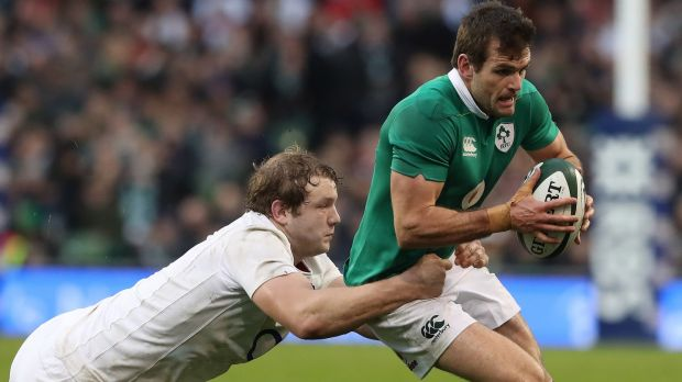 Jared Payne: the New Zealand native, who won 21 caps for Ireland, in action against England's Joe Launchbury in 2017. Photograph: Billy Stickland/Inpho