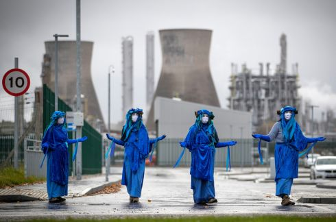 BLOCKADE: Extinction Rebellion Scotland blockade the road and demonstrate outside the Ineos oil refinery at Grangemouth. Photograph: Jane Barlow/PA Wire
