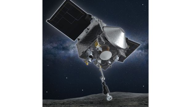 An artist's rendering of the Osiris-Rex spacecraft descending towards asteroid Bennu to collect a sample of the asteroids surface. Photograph: Handout / University of Arizona/NASA Goddard Space Flight Center AFP