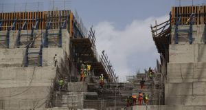 Ethiopia Dam during construction in 2015. Photograph: Zacharias Abubeker/AFP/Getty Images