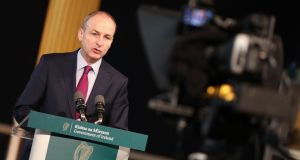 Taoiseach Micheál Martin has claimed that Sinn Féin representatives were 'summoned' to the funeral of veteran republican Bobby Storey in defiance of coronavirus restrictions in a planned effort to push a political message 'down everyone's throats'. File photograph: Julian Behal Photography/PA Wire.