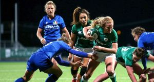 Ireland's Kathryn Dane in action against Italy on Saturday evening. Photograph: Inpho