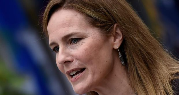 Judge Amy Coney Barrett. Photograph: Olivier Douliery/AFP via Getty